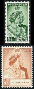 Gibraltar SG134/5 1948 Silver Wedding Fine M/M
