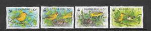 BIRDS - BARBADOS WWF #795-98  MNH