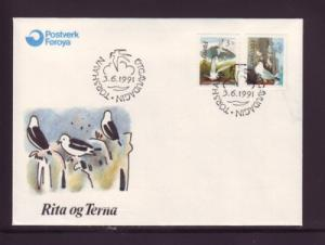 Faroe Islands Sc224-5 1991 birds stamp set FDC