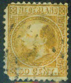 Netherlands Scott 12 William III 50c gold CV$160