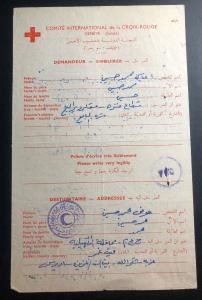 1956 Israel Prisoner of War Letter Cover Red Cross Suez Crisis All In Arabic B