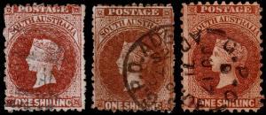 South Australia Scott 52, 52a, 52c (1867-71) Used F, CV $78.50 M