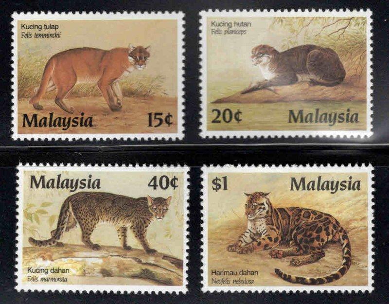 Malaysia Scott 368-371 MNH** Protected Wildcat set