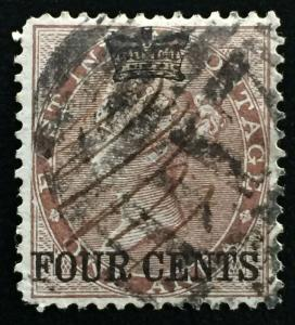 Malaya 1867 Straits Settlements opt India 4c on 1a Used SG#4 CV£275