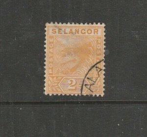 Malaya Selangor 1891/5 2c Orange Tiger, Used SG 51
