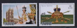 Niue Sc  194-5 1977 25th anniversary QE II stamp set mint NH