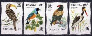 Uganda 1982  Sc#346/349  BIRDS Set (4) MNH