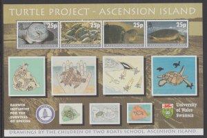 Ascension 754 Turtles Souvenir Sheet MNH VF