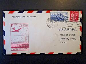 France 1939 First Flight Cover to Horta - Z5048