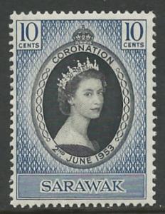 Sarawak # 196  Elizabeth II Coronation (1) VLH Unused