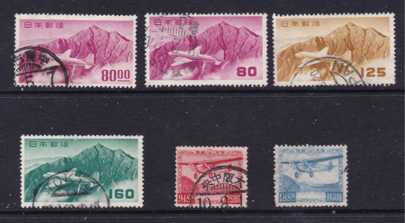 Japan x 6 used early Air stamps