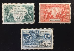 Martinique 129,131,132 MNHOG F/VF Colonial Exposition Issues SCV $15.75
