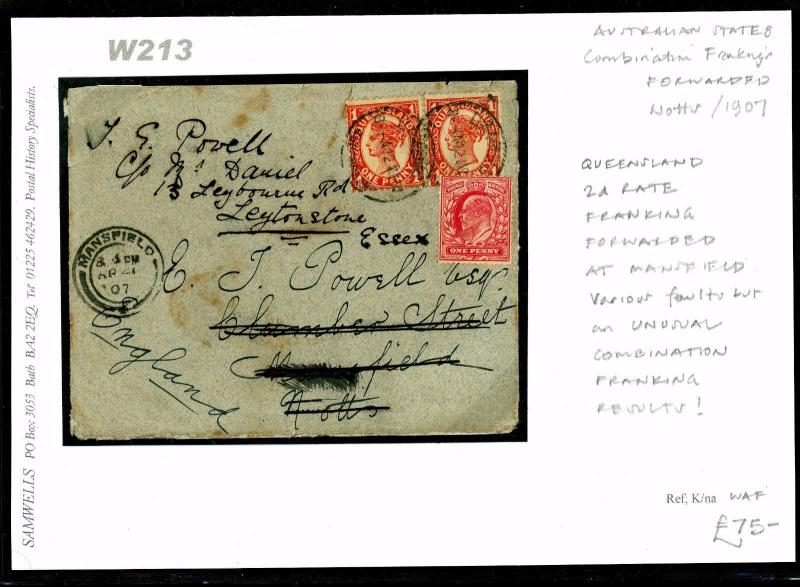 Australia QUEENSLAND GB FRANKING 2d Rate Cover 1907 Forwarded Mansfield W213