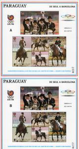 Paraguay 1989 Mi#Bl.455 A/B Winners Seoul 88 Olympics Team dressage 2 S/S MNH