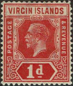 VIRGIN ISLANDS #48 1921 1p GEORGE V ISSUE-MINT-OG/HINGED--VF