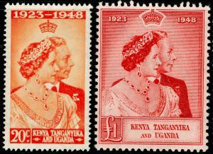 KENYA UGANDA TANGANYIKA SG157-158, COMPLETE SET, NH MINT. Cat £51. RSW.