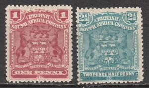 RHODESIA 1898 ARMS 1D AND 21/2D