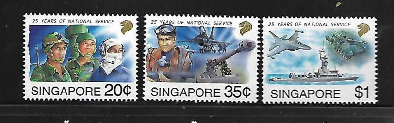 SINGAPORE, 631-633, MNH, 25 YEARS OF NATIONAL SERVICE