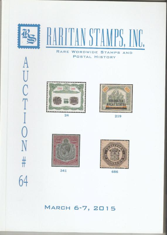 Raritan Catalog Auction #64,Mar 2015 Rare Russia, Errors & Worldwide Rarities