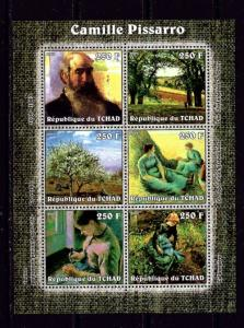 Chad 2002 Camille Pissarro mini-sheet of 6 NH