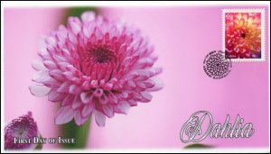 CA20-005, 2020, Dahlia, Pictorial Postmark, First Day Cover, Pink
