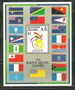 Solomon Island MNH S/S 698 9th South Pacific Games SCV 7.75