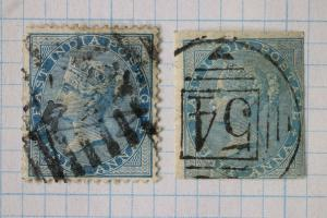 India sc#20 or 31 sg 37a imperf rare variety 1856 1/2 half anna used cv$2000