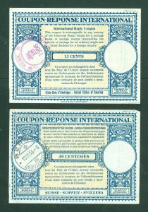 Switzerland. 1955-56. 2 Postage Coupon-Response International. Used.