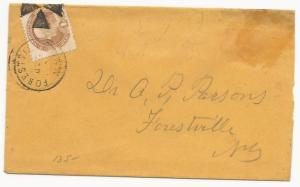 US Scott #112 Tied to Cover by Fancy Circle of Wedges Cancel Forestville, NY