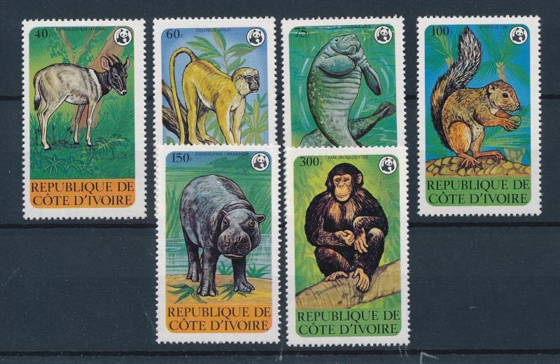 [54025] Ivory Coast 1979 Wild animals WWF Monkey Squirrel Hippo MNH