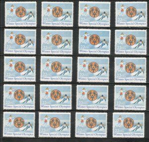 2142 Winter Special Olympics Wholesale Lot Of 20 Singles Mint/nh Below Face