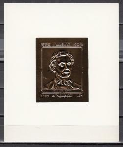 Fujeira, Mi cat. 1406, BL147. Abraham Lincoln, Gold Foil Deluxe sheet.