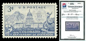 Scott 1001 1951 3c Colorado Issue Mint Graded Superb 98 NH with PSE CERTIFICATE!