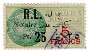 (I.B) France Colonial Revenue : Lebanon Duty 25pi on 5Fr OP (Notary)