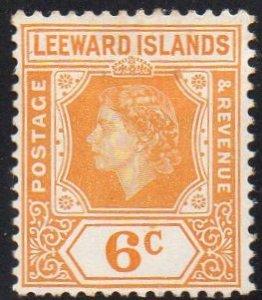 Leeward Islands 1954 6c yellow-orange MH
