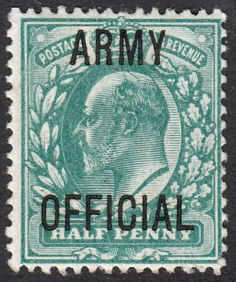 GB KEVII 1902 0.5d Blue-Green SGO48 Mint Lightly Hinged