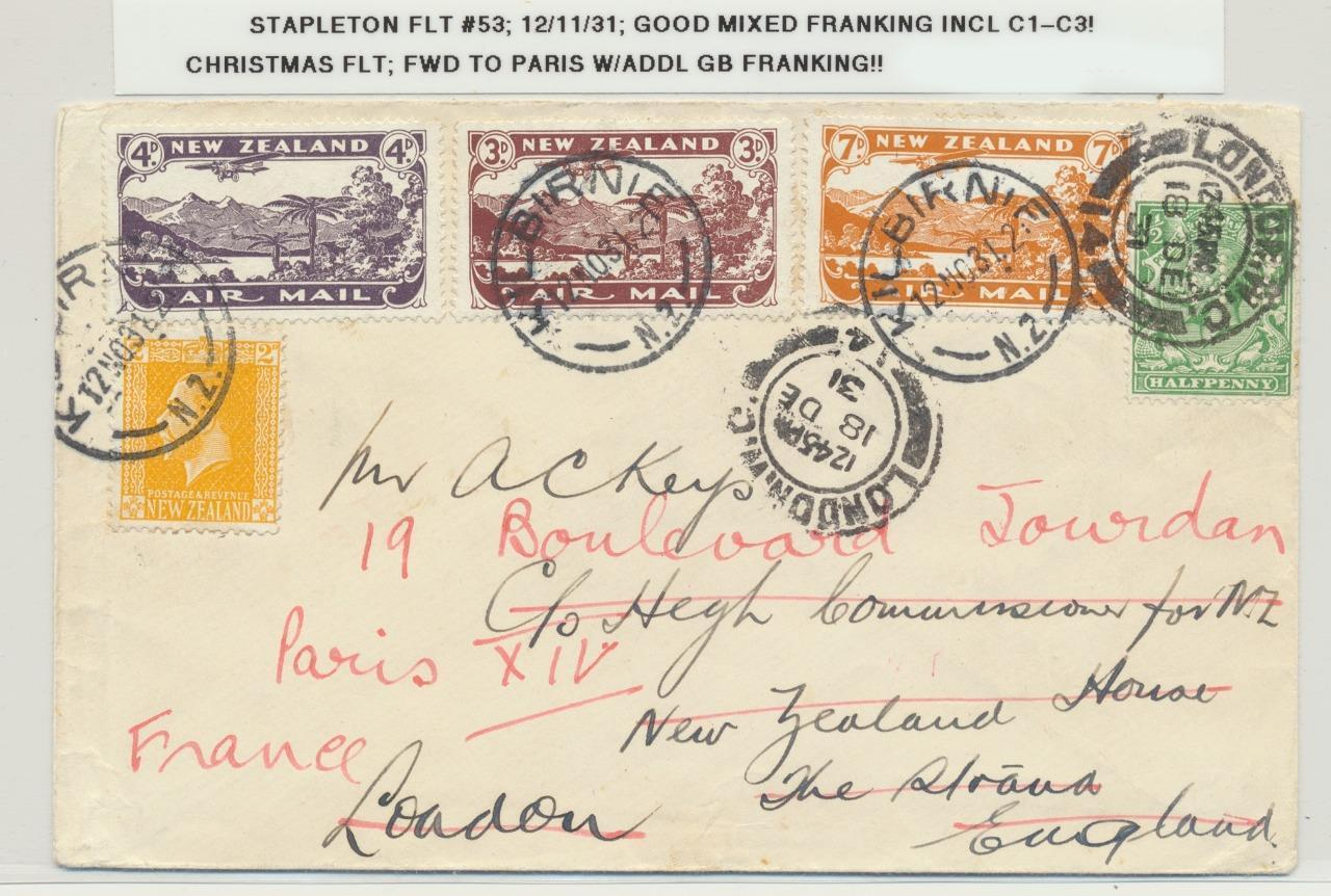 NEW ZEALAND 1931 MIXED FRANK XMAS FLIGHT TO UK REDIR TO