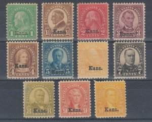 US Sc 658-668 MNH. 1929 Kansas overprints complete, few with dull gum