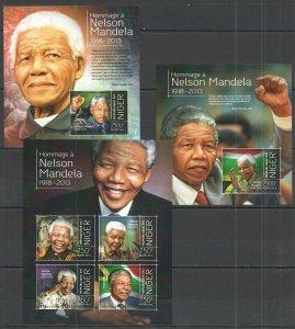 ST2832 2013 NIGER FAMOUS PEOPLE HOMMAGE NELSON MANDELA KB+2BL MNH