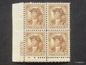 #706 Washington Lower Left  Plate Block 20678 F-VF LH