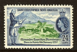 ST.CHRISTOPHER NEVIS & ANGUILLA QE II 1957 Hamilton Bicentenary SG 119 MINT