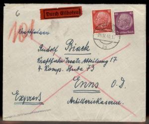 Austria 1940 Germany Ostmark Vienna Express Rohrpost Pneumatic Cover 88946