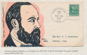 #825 JAMES GARFIELD ON WEIGAND FDC HANDPAINTED CACHET BS2856