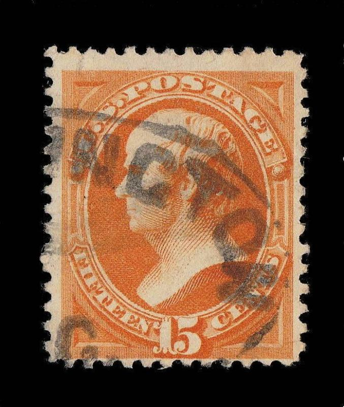 US - 1873 Sc.163 - 15c BRIGHT ORANGE - WASHINGTON, D.C. Cancel - minor faults