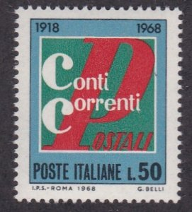 Italy # 996, Postal Checking Service 50th Anniversary, NH