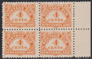 Newfoundland - USC #J4a 1939 4c Due Perf 10-10 1/2 Block of 4 F-VF-NH Cat. $110.