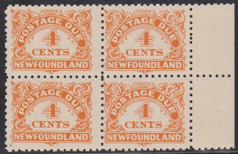 Newfoundland - USC #J4a 1939 4c Due Perf 10-10 1/2 Block of 4 F-VF-NH Cat. $110.