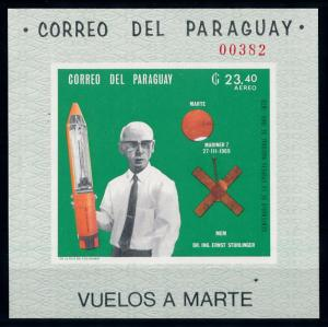 [66071] Paraguay 1969 Space Travel Weltraum Stuhlinger Imperf. Sheet MNH