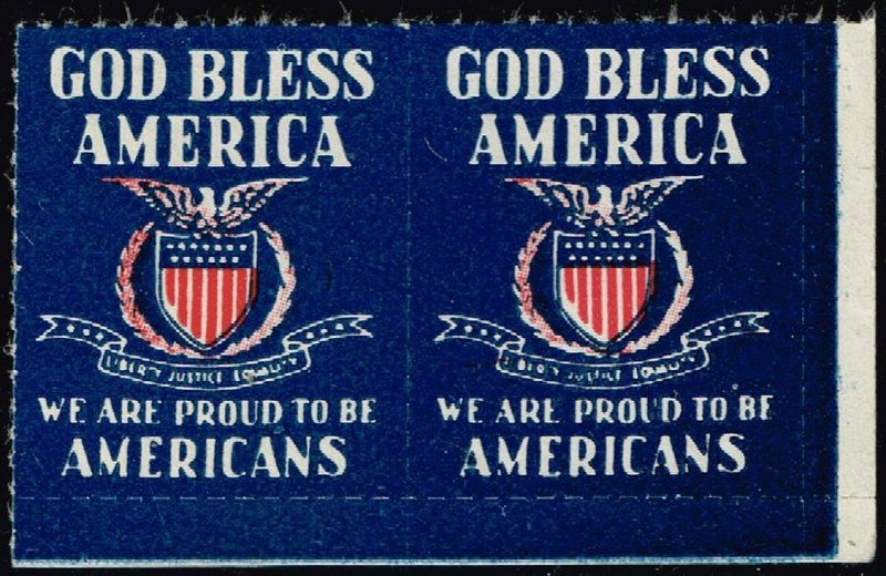 US STAMP PATRIOTIC  LABEL MNH  STAMP PAIR GDD BLESS AMERICA
