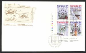 Canada Sc# 1099-1102 FDC inscription block 1986 06.27 Science & Technology